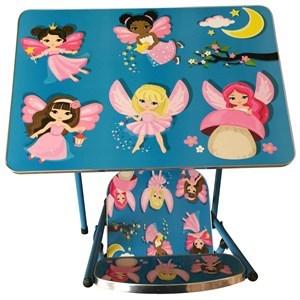 Imagen de Mesa y silla plegable, madera y metal en caja, varios diseños infantiles