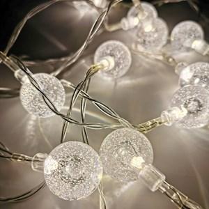 Imagen de Luces led x10, guía de 10 bolas luces blancas, a pila, 2AA, en bolsa