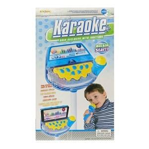 Imagen de Micrófono con pie, para karaoke, con luz, conexión M3, 3AA, en caja, 2 colores