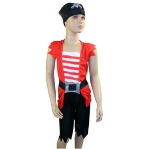 Imagen de Disfraz de pirata, pantalón, buzo, pañuelo y cinturón, en bolsa