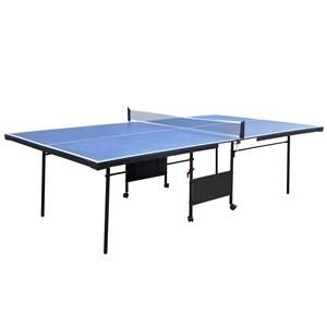 Imagen de Mesa de ping pong plegable, 274x152x76cm, de MDF y patas de acero con ruedas, con accesorios, en caja