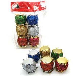 Imagen de Adorno navideño tambor con brillantina x6, 3.2cm, colores surtidos, en bolsa