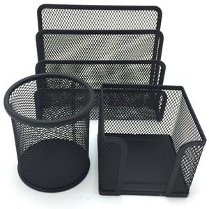Imagen de Portalápices, portataco y organizador de metal para escritorio, en caja de mica