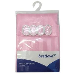 Imagen de Cortina de baño con 8 aros de plástico, de poliéster, varios colores, en bolsa