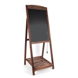 Imagen de Pizarra cartel con luz led, marco de madera con pie y repisa, en caja