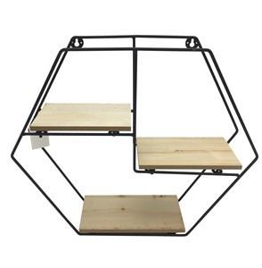 Imagen de Mueble, estantería de metal, 3 estantes de madera, diseño hexagonal