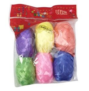 Imagen de Cinta de regalo lisa, 6 ovillos de colores surtidos, 5mm x 10m, en bolsa