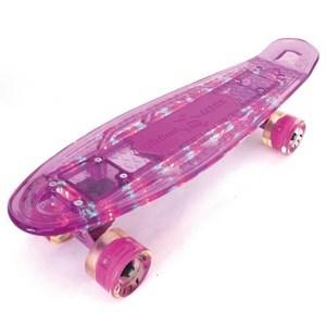 Imagen de Skate de plástico penny, transparente color, con luz y bluetooth, luz en las ruedas, trucks de metal, varios colores