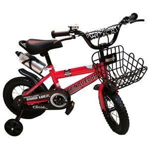 """Imagen de Bicicleta rodado 12"""", con canasto, caramañola, timbre, rueditas de aprendizaje, ROJO, en caja"""