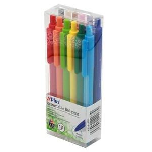 Imagen de Lapicera retráctil x12, de colores, A+PLUS, en caja