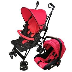 Imagen de Coche para bebé, paragüitas plegable con capota, con baby silla independiente (no autorizada para auto), 3 posiciones, cinturón de 5 puntas, 4 ruedas dobles con freno trasero, canasto de red, en caja, color ROJO