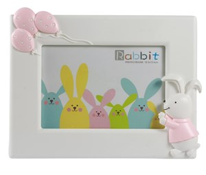 Imagen de Portarretrato infantil de plástico, foto 10x15,en caja, rosado y verde