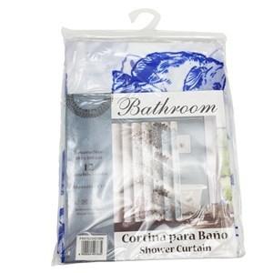 Imagen de Cortina de baño con 12 aros de plástico, de EVA, varios diseños, en bolsa