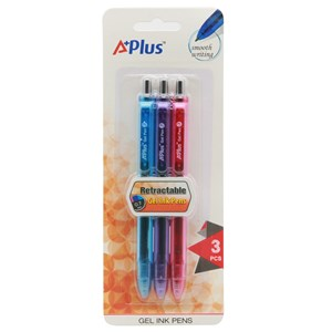 Imagen de Lapicera retráctil de gel x3, tinta de colores, punta 0.7mm, A+PLUS, en blister