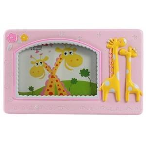 Imagen de Portarretrato infantil de plástico, foto 10x15, en caja, rosado y celeste