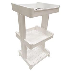 Imagen de Mueble estantería de plástico, 3 estantes bandeja, con ruedas