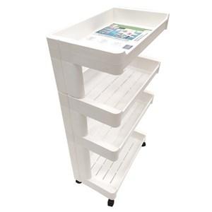 Imagen de Mueble estantería de plástico, 4 estantes bandeja, con ruedas