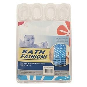 Imagen de Cortina de baño con 12 aros de plástico, de PEVA, varios diseños, en bolsa