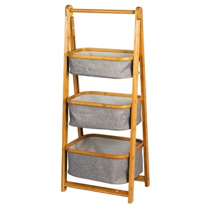 Imagen de Mueble organizador de bambú, 3 canastos de tela, en caja
