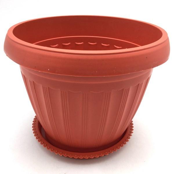 Imagen de Maceta de plástico redonda, 22cm, con plato