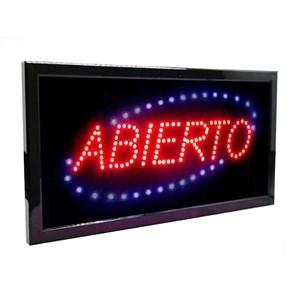 """Imagen de Cartel luminoso led, """"ABIERTO"""", en caja"""