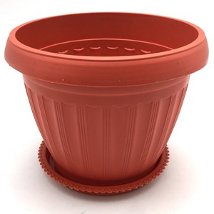 Imagen de Maceta de plástico redonda, 18cm, con plato