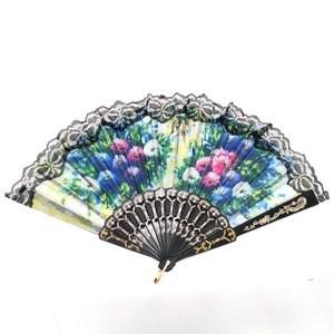Imagen de Abanico de plástico y tela, con puntilla, PACK x12, varios diseños