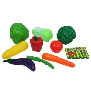 Imagen de Frutas y verduras de plástico, 9 piezas, en red