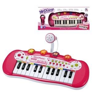 Imagen de Organo con micrófono rosado, 24 teclas, luz, 3AA, en caja