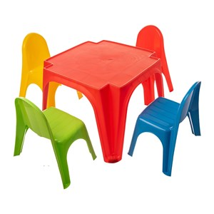 Imagen de Mesa y 4 sillas STARPLAY, de plástico, en caja
