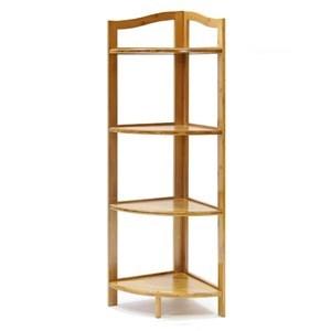 Imagen de Mueble estantería de bambú y MDF, esquinero, 4 estantes, en caja