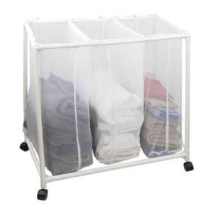 Imagen de Cesto de ropa rectangular, desarmable, con ruedas, en caja
