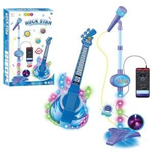 Imagen de Micrófono, de pie y guitarra con luz, entrada para celular y MP3, 3AA en caja