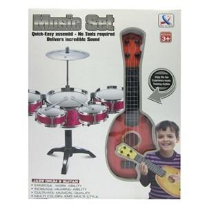 Imagen de Batería 5 tambores, platillo y guitarra, en caja, 2 colores