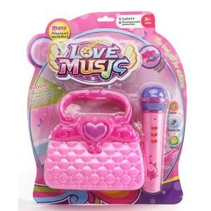 Imagen de Micrófono con luz y sonido, cartera de plástico, 1AA, en blister