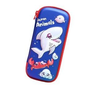 Imagen de Cartuchera libro 1 cierre, bolsillo interior, diseño 3D tiburón