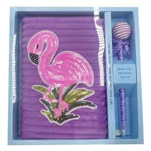 Imagen de Libreta con lapicera, 64 hojas, varios diseños flamingos