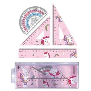 Imagen de Juego de geometría 4 piezas, 20cm, unicornios en sobre de PVC
