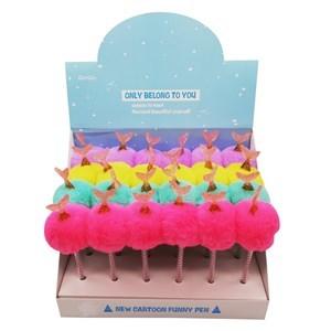 Imagen de Lápicera de gel con diseño pompón con sirena, CAJA x24
