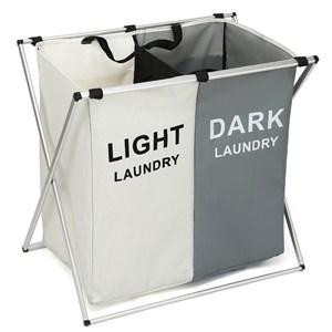 Imagen de Cesto de ropa plegable,2 canastos, bolsillos exteriores, en caja