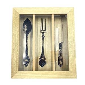 Imagen de Cubiertera organizador de madera, con tapa de vidrio