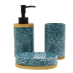 Imagen de Dispensador de jabón de cerámica, con accesorios, en caja, VERDE