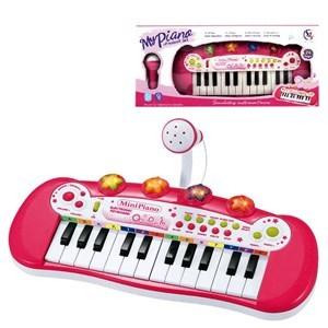 Imagen de Organo con micrófono ROSADO, con luz 24 teclas, 3AA, en caja