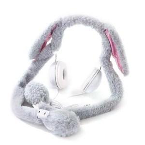 Imagen de Auricular vincha orejas de peluche GRIS, con luces y movimiento de las orejas