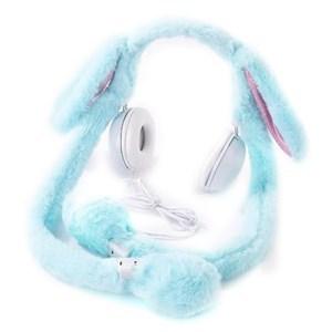 Imagen de Auricular vincha orejas de peluche CELESTE, con luces y movimiento de las orejas
