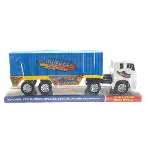 Imagen de Camión a fricción con contenedor, 3 colores en burbuja