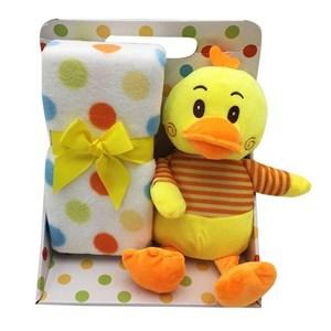 Imagen de Peluche pato, con manta para bebé, en caja