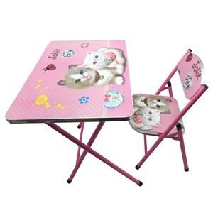 Imagen de Mesa y silla plegable, madera y metal ROSADO, varios diseños en caja