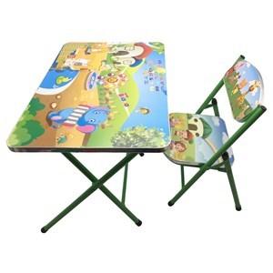 Imagen de Mesa y silla plegable, madera y metal VERDE, varios diseños en caja