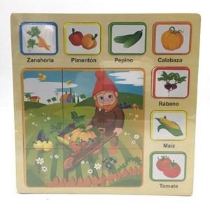 Imagen de Puzzle de madera, 16 piezas, futas y verduras